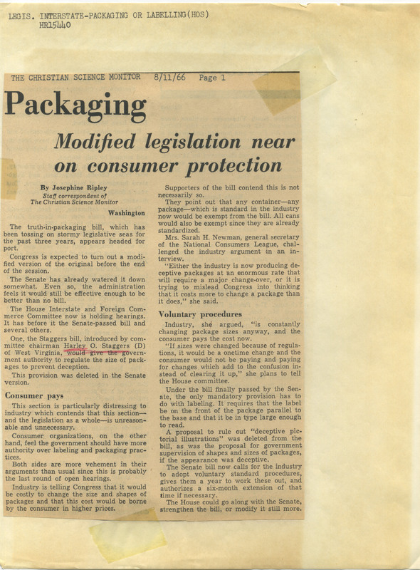 Clipping of a newspaper article about packaging legislation<br /><br />