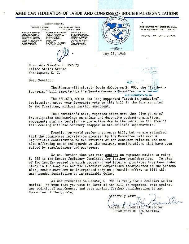 Letter from AFL-CIO, Department of Legislation, to Senator Winston Prouty<br /><br />