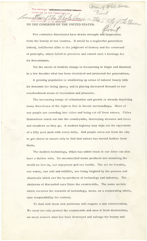 President Lyndon B. Johnson's Natural Beauty Message