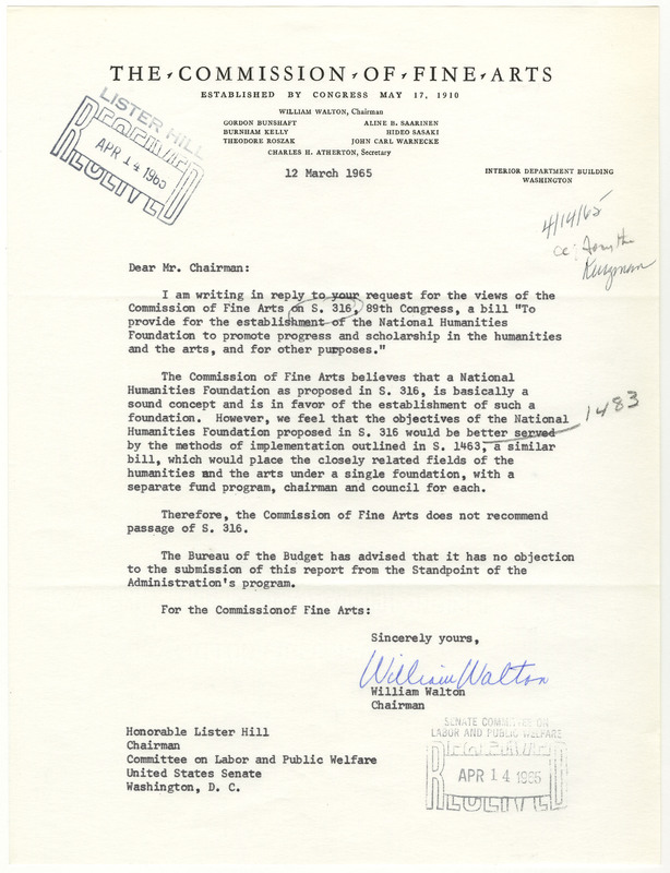 Letter from William Walton to Lister Hill Regarding S.  316&lt;br /&gt;<br />