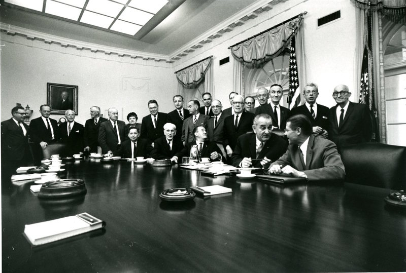 Photograph of President Lyndon B. Johnson and Vice President Hubert Humphrey with the House and Senate leadership<br /><br />