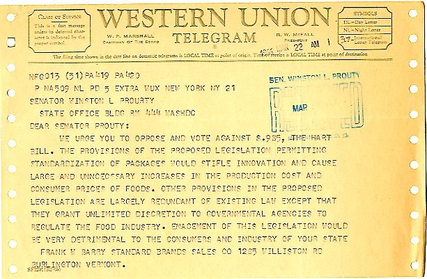 Telegram from Standard Brand Sales to Senator Winston Prouty<br /><br />