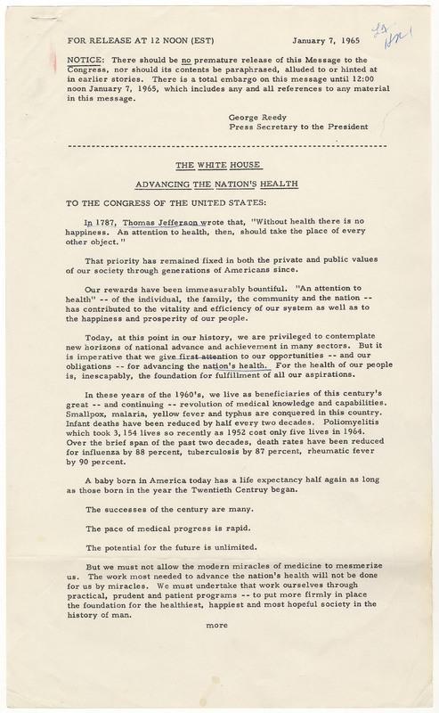 President Lyndon B. Johnson's Press Release Calling for a Hospital Insurance Program