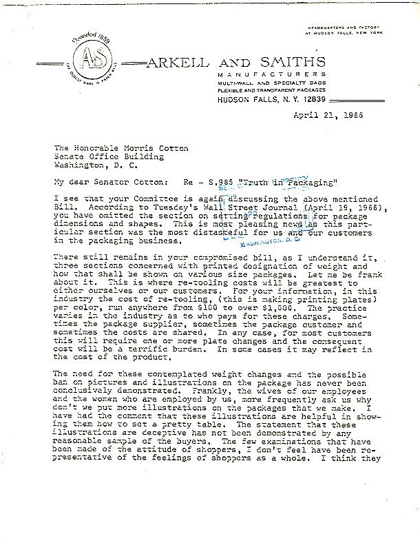 Letter from Arkell and Smiths Manufacturers to Senator Cotton, copy to Senator Winston Prouty<br /><br />