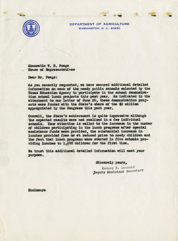 Letter from Rodney E. Leonard to Congressman Poage, July 15, 1966