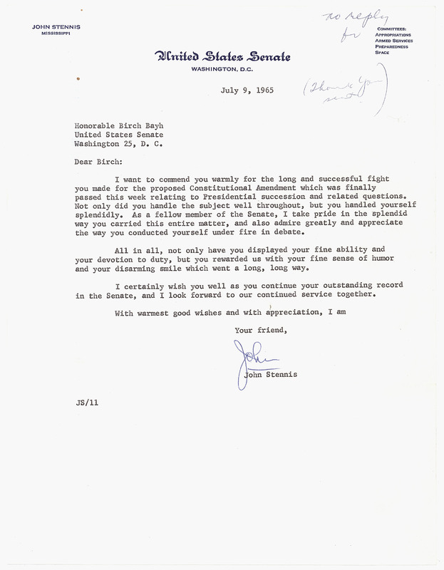 Letter from Senator John Stennis to Senator Birch Bayh