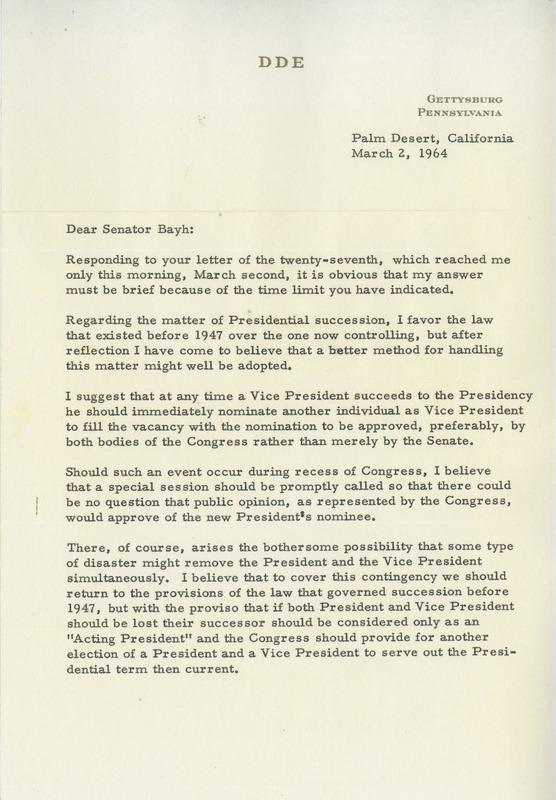Eisenhower letter of March 2, 1964&lt;br /&gt;<br />
