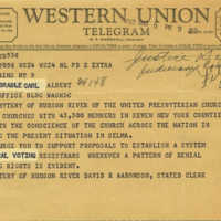 Telegram from the Presbytery of Hudson River of the United Presbyterian Church to Carl Albert
