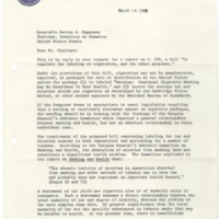 Letter from Acting Secretary of the Department of Agriculture Charles S. Murphy to Senator Warren G. Magnuson Regarding S. 559<br /><br />