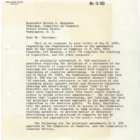 Letter from Federal Trade Commission Chairman Paul Rand Dixon to Senator Warren G. Magnuson Regardng S. 559<br /><br />