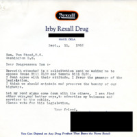Correspondence, Constituent from Maud, Oklahoma with Representative Steed