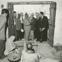 Photograph of the Congressional Delegation visiting a Fair Price Shop<br /><br />