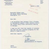 Letter from Congressman Donald Rumsfeld to Congressman Bob Dole