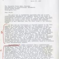Letter from Sen. Ken Keating to Sen. Birch Bayh<br />