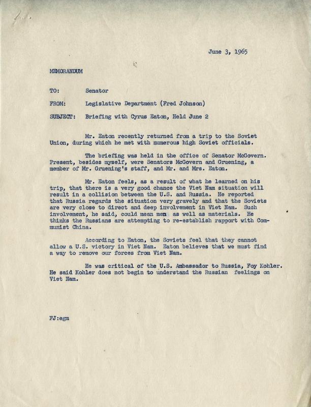 Memorandum to Senator Birch Bayh about Vietnam and USSR