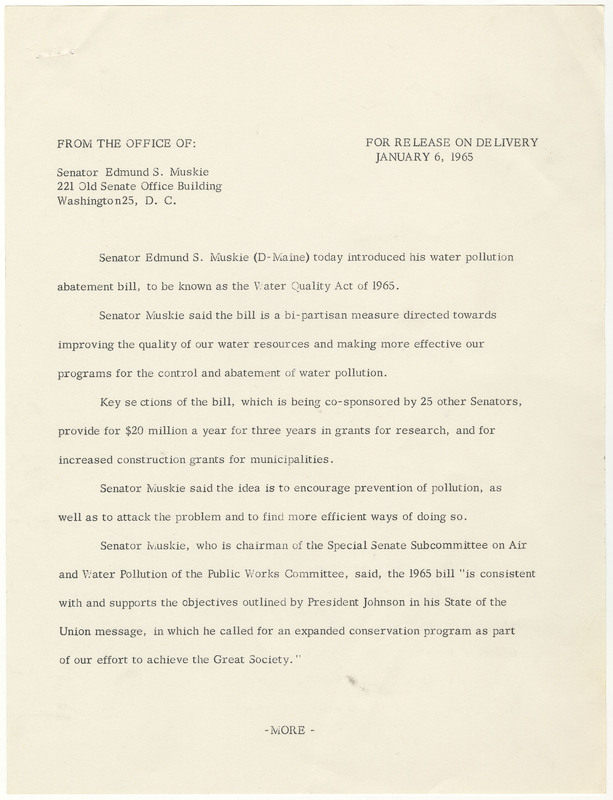 Edmund S. Muskie Press Release on S. 4