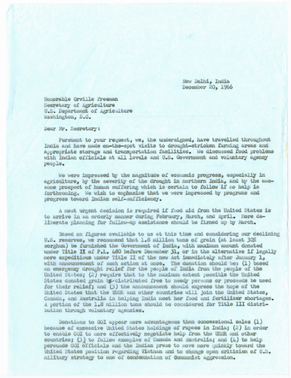 Joint letter to Secretary of Agriculture Orville Freeman from the Congressional Delegation to India<br /><br />