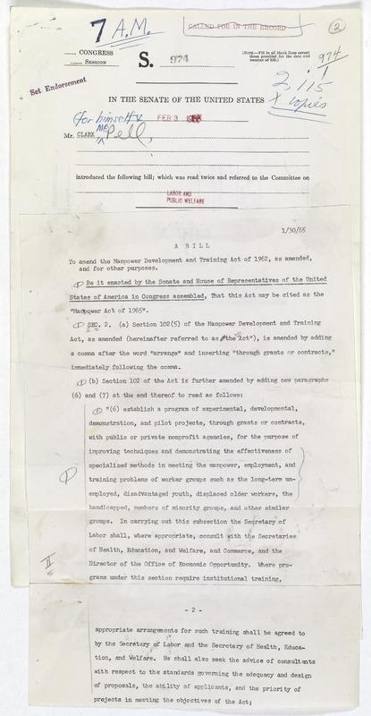 S. 974 Manpower Development and Training Act