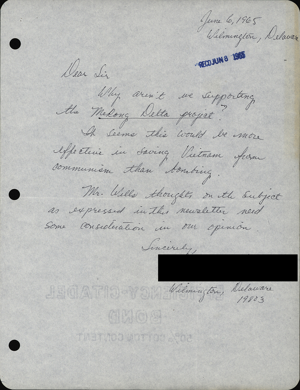 Constituent letter sent to Senator John J. Williams regarding the Vietnam War