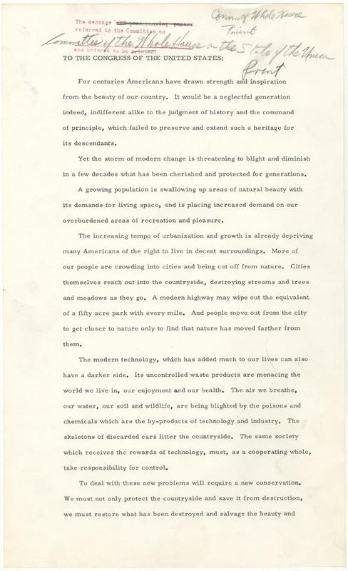 President Lyndon B. Johnson's Natural Beauty Message