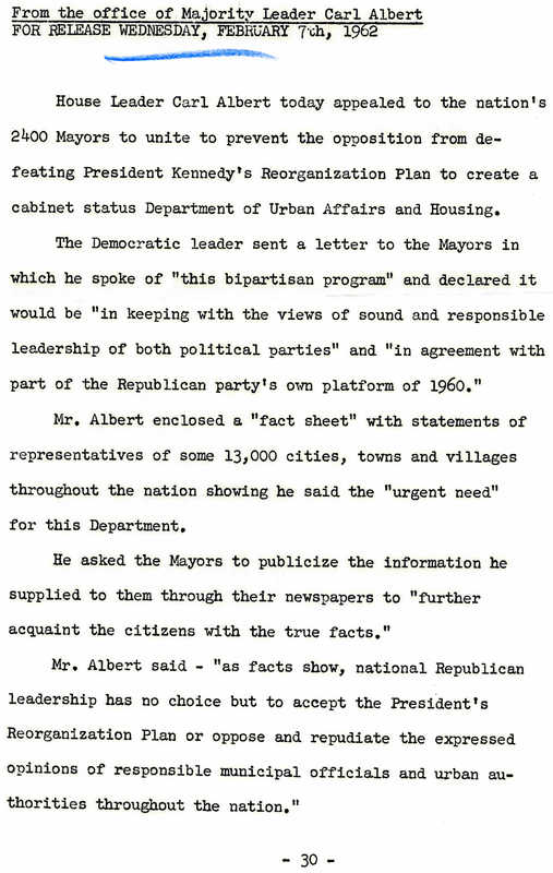 Press Release from the office of Majority Leader Carl Albert<br /><br />