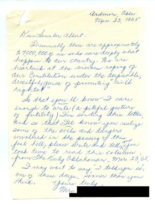 Correspondence with Representative Carl Albert from Ardmore, Oklahoma, regarding the Voting Rights Act