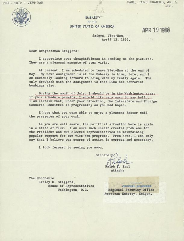 Letter from the U.S. Embassy in Saigon