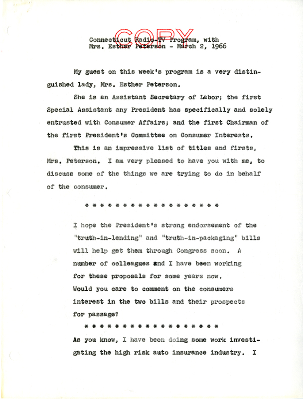 Script for interview with Esther Peterson on Connecticut Radio-TV program<br /><br />