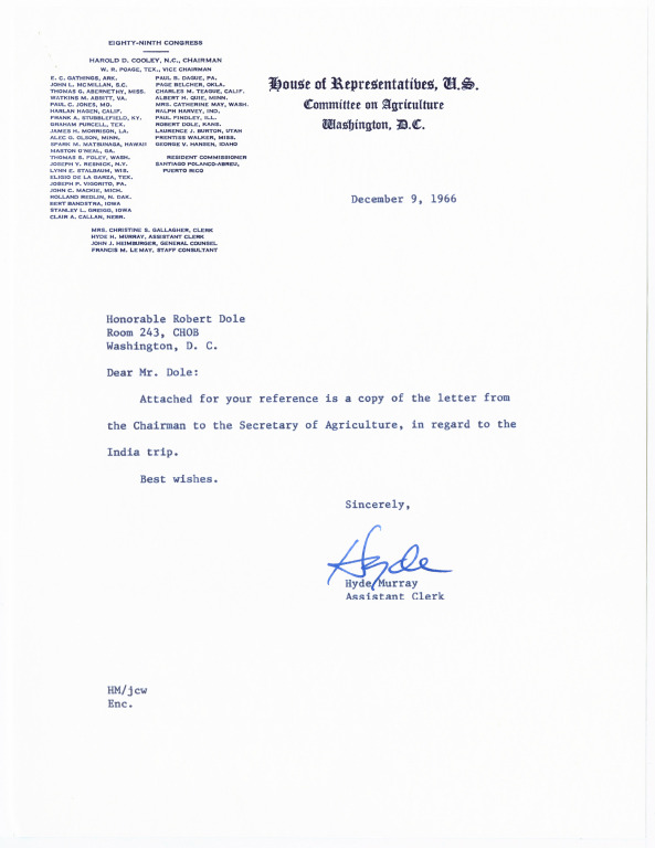 Correspondence between Congressmen Dole and Poage and the Department of Agriculture about the Congressional Delegation to India<br /><br />