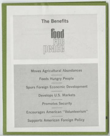 &#039;The Benefits: Food for Peace&#039; program charts booklet<br /><br />