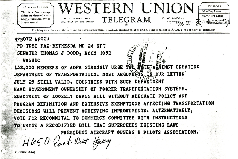 Telegram from the president of the Aircraft Owners & Pilots Association to Senator Dodd<br />