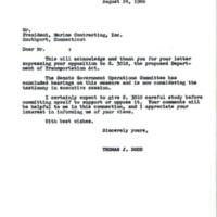 Letter from Senator Dodd to constituent<br /><br />
