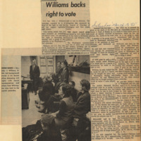 Clipping from Wilmington Morning News Journal on Senator Williams and the Voting Rights legislation