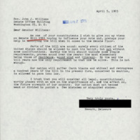 Letter from constituent sent to Senator Williams on the Voting Rights bill (S. 1564)