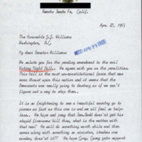 Letter from constituent sent to Senator John J. Williams regarding the Voting Rights Act