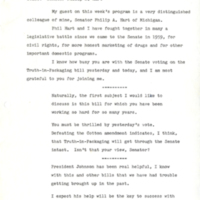 Script for interview with Senator Philip Hart on Connecticut radio-TV program<br /><br />
