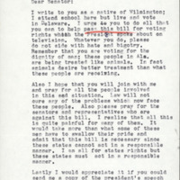 Letter from constituent sent to Senator John J. Williams asking him to vote for passage of the Voting Rights bill